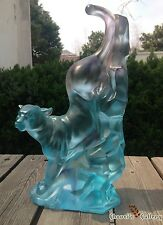 Pate de Verre/Panther/Art Colored Glass/Crystal Sculpture/Statue/Home Deco/Craft
