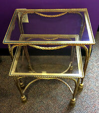 Pair Vtg Italy Hollywood Regency Gold Gilt Metal Rope Tassel Nesting Side Tables
