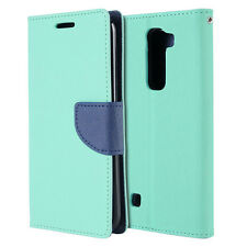 For LG Treasure Tracfone - TEAL Leather Case Magnetic Card Wallet Pouch Folio