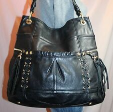 B. MAKOWSKY Black Large Leather Shoulder Hobo Tote Satchel Slouch Purse Bag