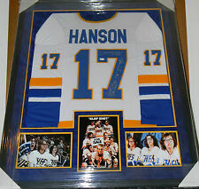SLAP SHOT THE HANSON BROTHERS AUTO SIGNED JERSEY FRAMED MATTED JSA COA MOVIE