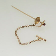 14k Yellow Gold Antique Sword Tie Pin With Ruby Stone