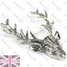 "2""LARGE vintage silver/gold STAG fashion BROOCH pin BIG ANTLERS deer ELK head"