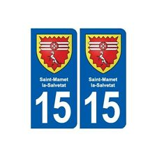 15 Saint-Mamet-la-Salvetat blason ville autocollant plaque sticker arrondis