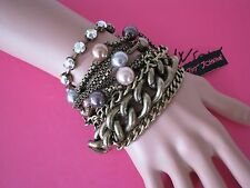 BETSEY JOHNSON BLACK LABEL CRYSTAL/PEARL/CHAIN STATEMENT BRACELET~$175~NWT~RARE*