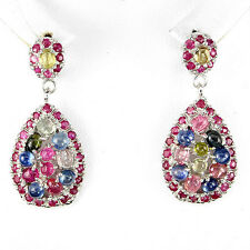 35 CTS! ASTOUNDING! NATURAL MULT- COLOR TOURMALINE, RUBY & SAPPHIRE EARRINGS