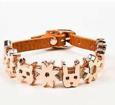 KAREN WALKER ADORABLE Single CRITTER Leather Cognac & Rose Gold Bracelet