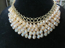 M Haskell Aurora Borealis Amber Champagne Bib Necklace Gold Tone 627