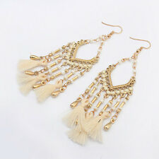 WHITE DROP TASSLE TASSEL & BEAD DANGLE CHANDELIER BRIDAL WEDDING BOHO EARRINGS