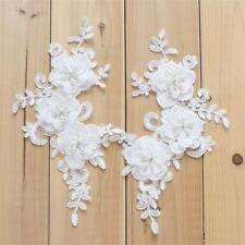 Pearl Beaded Applique Floral Bridal Lace Trimming Embroidery Sew on Motif 1 Pair