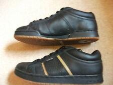 """Osiris noir/or """"vis"""" chaussures en cuir/baskets/skateboard USA12, UK11.5?"""