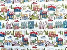Christmas Wonderland houses fabric fq 50x56 cm  100% Cotton Makower MK1463