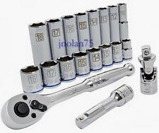 """KOBALT 19 Piece 3/8"""" MM Ratchet Deep Socket Tool Set Extension, Universal Joint"""