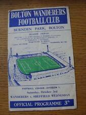03/10/1959 Bolton Wanderers v Sheffield Wednesday  (folded, creased).  Any fault