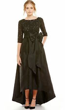 Adrianna Papell 3/4 Sleeve Beaded Bodice Taffeta Gown size 14 black new with tag