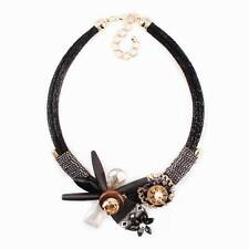 pu leather rope wood crystal flower pendant chunky statement necklace for women