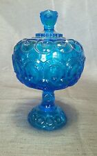 Vintage LE Smith Moon Stars electric blue  large Candy  dish Lidded Compote.