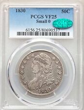 1830 Capped Bust PCGS CAC VF25 Small 0 Silver Half Dollar Nice Type Coin Overton