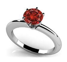 1 CARAT BRILLIANT CUT Red DIAMOND RING & GRADING CERTIFICATE 6 Prong Solitaire