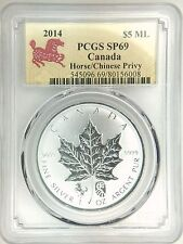 2014 Canada Maple Leaf Chinese Lunar Horse Privy Silver 1oz Coin PCGS SP69