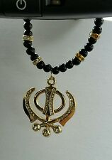 Gold Plated Punjabi Sikh Khanda Pendant Car Rear Mirror Hanging in black beads