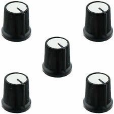 5 x White Potentiometer Control Knob 6mm Shaft Diameter