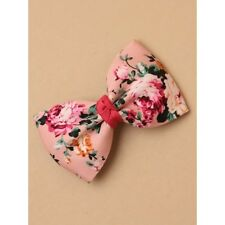 NEW Pink floral print fabric bow crocodile clip womens hair accessory fashion