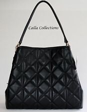 New COACH Phoebe Quilted Leather Shoulder Bag/Purse-F36696- Gold/Black