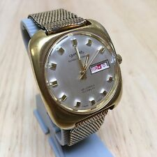 Vintage Staromatic Men 25 Jewels Mesh Steel Super-Automatic Watch Hours~Day Date