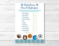 """Sports Football Baseball Printable Baby Shower """"Price is Right!"""" Game Cards"""