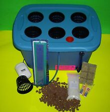 6 SITE HYDROPONIC GROW BOX SYSTEM KIT 5 GALLON COMPLETE W/  NUTRIENTS & pH TEST
