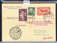 51418) KLM Polar FF Amsterdam - Tokio 1.11.58, USA reply card via Brüssel