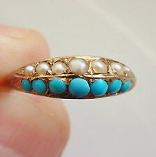Fine Antique Victorian 15ct Gold Turquoise & Pearl set Ring c1872; Ring Size 'J'