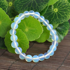 Stylish 8mm Opal Moonstone Round Gemstone Beads Stretchable Bracelet 8.2""