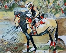 """NEW ORIGINAL PETE DAVIES """"The Lone Rider"""" pale cowboy wild OIL CANVAS PAINTING"""