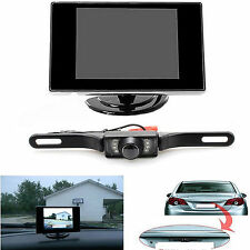 License Plate Camera with Night Vision + 3.5 TFT Color LCD Car Rear View Backup