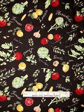 Italian Food Fabric - Tomato Lemon Basil Kitchen Toss Wilmington #33768 - Yard