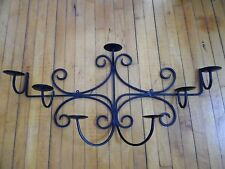Large Black Scroll Wrought Iron Metal Sculpture Wall Candle Holder Candeleria