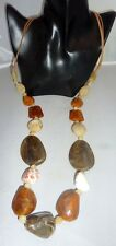 Chunky Statement  Pebble Large Bead Earthy Tone Necklace NEW
