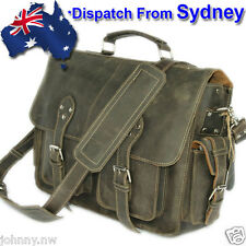 Mens Genuine Leather Crazy Horse Leather Huge Mens Briefcase Laptop Bag YY238-AU