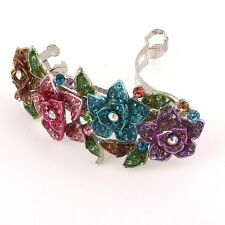 Sparkling beautiful silver tone rhinestone crystal rose hair clip barrette 66
