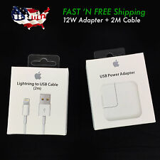 2M Lightning USB OEM Cable + 12W Fast Wall Charger Apple iPhone power adapters