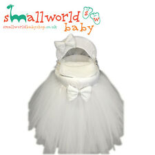 Personalised White Bling Tutu Moses Basket Cover Set (NEXT DAY DISPATCH)