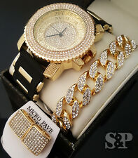 Men Hip Hop Iced Out Gold PT CZ WATCH & Cuban Bracelet & Earrings Combo Gift Set