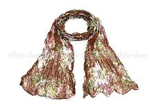 """64"""" Flower Floral Print Oil Paint Wrinkle Scarf Wrap See Through Light Weight"""
