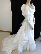NATIONWIDE GOWNS WHITE LACE SATIN & BEADED PEARLS WEDDING DRESS SIZE 10