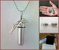 "COMPLETE SET - Gun & Rose CREMATION URN 24"" Necklace with Pouch & Fill Kit"