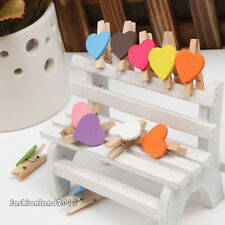 Chic 12Pcs Heart Wooden Clothes Photo Paper Peg Pin Clothespin Craft Clips LAD