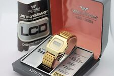 *NOS* Vintage WALTHAM LCD 3002 Solid State Quartz Gold Tone Men's Watch w Box