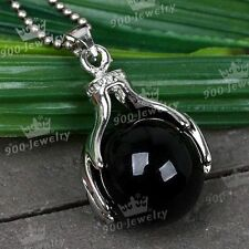 Natural Black Agate Stone Hand Palm Wrap Round Bead Dangle Pendant For Necklace